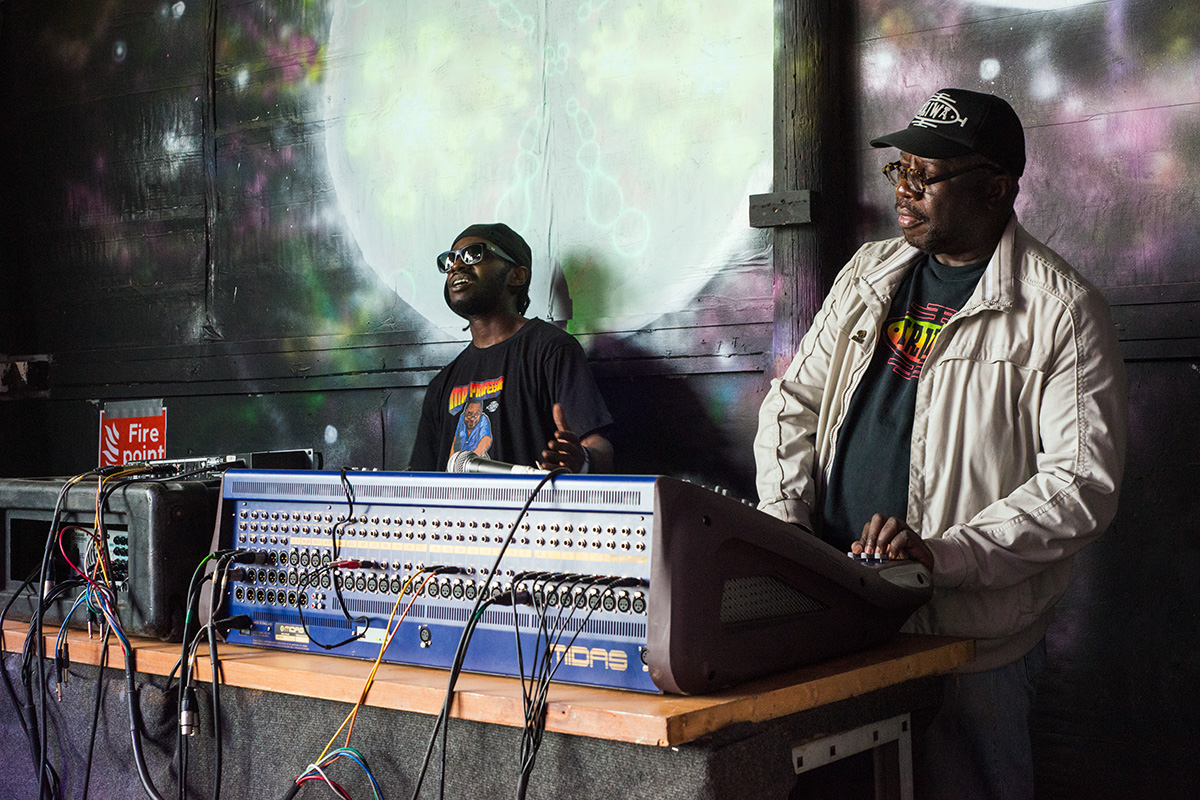 Mad Professor performing on the Bullpen stage at Nozstock 2015