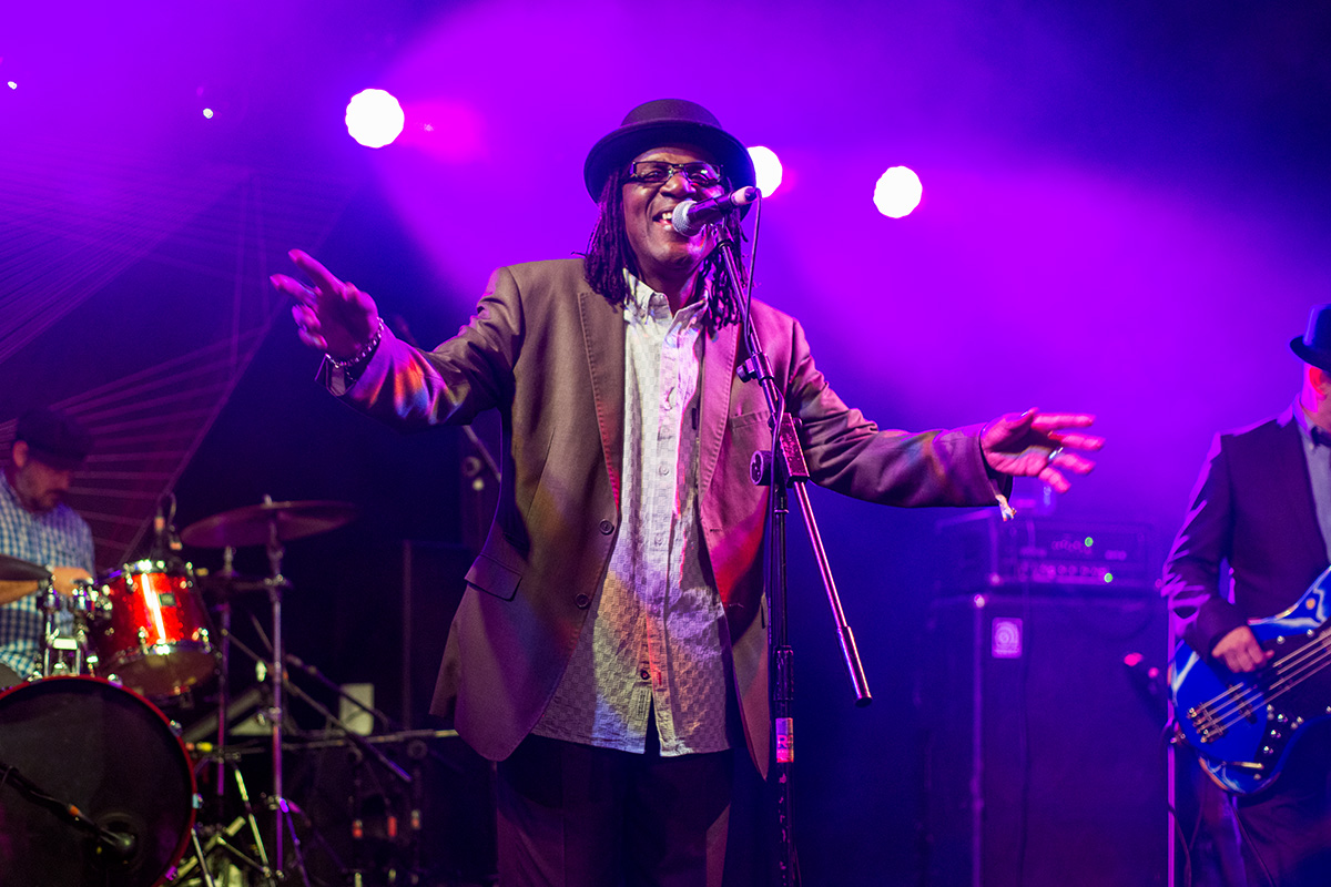 Neville Staple performing on the Orchard stage at Nozstock 2015