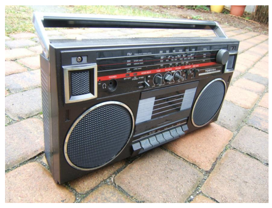 Black TOSHIBA RT-90S boom box: the same model Paul used in his mixes.